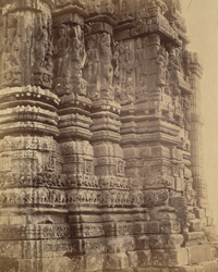 Close view of sculptured mouldings on the façade of the large temple, Janjgir, Bilaspur District 10031204